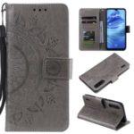 Imprint Flower Leather Wallet Case for Xiaomi Mi CC9e / Mi A3 – Grey