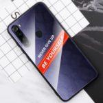 Tempered Glass PC TPU Phone Casing Shell for Xiaomi Redmi Note 8 – Purple