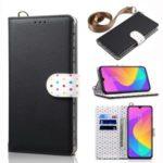 Dots Retro Leather Mobile Shell with Strap for Xiaomi Mi CC9 / Mi CC9 Meitu Edition – Black