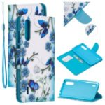Pattern Printing Leather Stand Wallet Phone Case for Xiaomi Mi CC9e/Mi A3 – Blue Flower and Butterfly