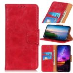 Crazy Horse Leather Wallet Casing for Xiaomi Redmi Note 8 – Red