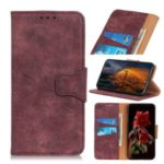 Vintage Style Leather Wallet Case for Xiaomi Redmi Note 8 – Wine Red