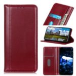 Auto-absorbed Split Leather Wallet Shell Case for Xiaomi Redmi Note 8 – Wine Red