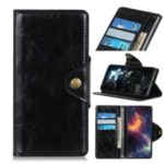 Magnetic Brass Clasp Wallet Stand Leather Shell Case for Xiaomi Redmi Note 8 Pro – Black