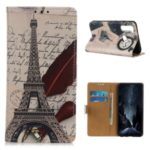 Stylish Pattern Printing PU Leather Wallet Stand Phone Shell for Xiaomi Redmi Note 8 – Eiffel Tower and Letters