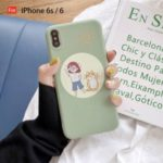 Girl and Cat Pattern Printing TPU Protective Phone Case Shell for iPhone 6 6s 6 Plus 6s Plus 7 8 7 Plus 8 Plus X XS XR XS Max – Green/For iPhone 6s/6