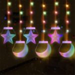 3D Christmas String Five-pointed Stars Babysbreath Curtain Decor Festival LED Light [USB 6 Acrylic Pendant] – Colorful Five-pointed stars