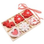 24pcs/box Creative Home Decoration Handicraft Wood Chips Christmas Tree Pendant