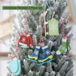 5PCS/Set Christmas Wooden Pendants Ornament Home Party Wood Crafts Decoration