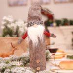 Christmas Decoration Ornaments Faceless Dolls Wine Bottles Set Hold Bottles Covers Bags Desk Decor – Grey