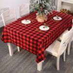 Christmas Decor Tablecloth Grid Pattern Dust-proof Table Cover – Red