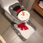 2Pcs/Set Christmas Pattern Toilet Seat Cover + U Shape Mat Bathroom Decoration Products Set – Snowman