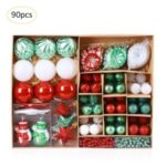 90PCS/Set Assorted Decorative Christmas Ball and Star Ornaments Set – Red / Green