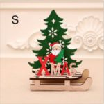 Christmas Wooden Tree Sled Ornament Table Decoration DIY Craft – Size: S / Santa Claus