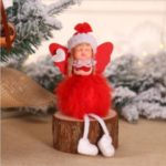 Christmas Decoration Plush Angel Doll Toy Xmas Pendant Ornament – Red / Sitting Style