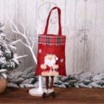 Santa Snowman Figurine Plaid Handheld Christmas Gift Bag Candy Bag – Santa Claus