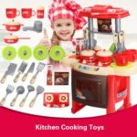 Electronic Kitchen Cooking Toys Cooker Play Set Lights & Sound Portable Children Kids Tools – Pink