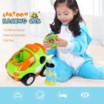 RC Cartoon Race Car with Music and Lights Electric Radio Control Toy for Baby Toddlers Kids and Children – Green