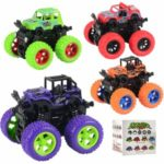 9cm Little Jeep Off-Road Vehicle Strong Four Big Wheel Inertia Scale Friction Power Car Boy Toy Gift – Random