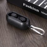 Litchi Grain PU Leather Coated TPU Protective Case with Anti-lost Hook for QCY T1 Bluetooth Headsets