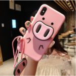 Pig Pattern Printing Silicone Back Case with Kictstand and Lanyard for iPhone XS Max 6.5 inch – Style A