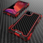 R-JUST ShocKproof Carbon Fiber Skin Silicone + Metal Back Case for iPhone 11 Pro Max 6.5 inch (2019) – Black/Red|