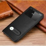 Dual View Window Genuine Leather Phone Cover for Apple iPhone 11 6.1 inch – Black
