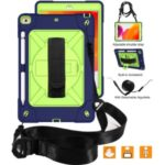 [Built-in Hand Holder Strap] 360° Swivel Kickstand PC + Silicone Combo Tablet Shell with Shoulder Strap for iPad 10.2 (2019) – Navy Blue/Olivine