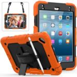 360° Swivel Handy Strap PC Silicone Kickstand Case with Shoulder Strap + Screen Protector for iPad mini (2019) 7.9 inch / mini 4 – Orange / Black