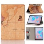 Map Pattern Printing Wallet Stand Leather Tablet Shell for Samsung Galaxy Tab S6 SM-T860 (Wi-Fi)/SM-T865 (LTE) – Brown