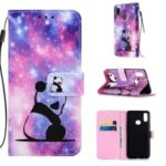 Pattern Printing PU Leather Wallet Protective Case for Samsung Galaxy A10s – Panda