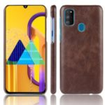 Litchi Texture PU Leather Coated PC Case for Samsung Galaxy M30s – Brown