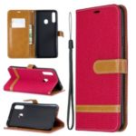 Assorted Color Jeans Cloth Leather Wallet Stand Case for Samsung Galaxy A20s – Red