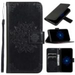 Imprint Kaleidoscope Leather Wallet Phone Case with Lanyard for A20e – Black