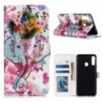 Embossed Pattern Printing Magnetic Leather Wallet Case for Samsung Galaxy A20s – Elephant