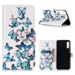 Pattern Printing PU Leather Wallet Stand Phone Cover for Samsung Galaxy A50s – Blue Butterflies