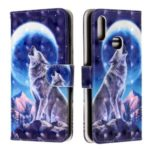 Light Spot Decor Pattern Printing Wallet Stand Leather Case with Strap for Samsung Galaxy A10s – Moon and Wolf
