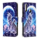 3D Light Spot Decor Patterned Leather Cell Shell Casing for Samsung Galaxy A20s – Moon and Wolf