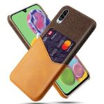 KSQ PC + PU + Cloth Shell with Card Slot for Samsung Galaxy A90 5G – Brown