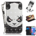 For Samsung Galaxy A20s Printing Wallet Stand Flip Leather Case with Strap – Panda