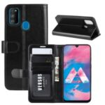 Crazy Horse Leather Wallet Case for Samsung Galaxy M30s – Black