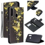 Pattern Printing Leather Wallet Phone Cover Case for Samsung Galaxy A20s – Gold Butterfly