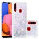 Dynamic Glitter Powder Heart Shaped Sequins TPU Phone Case for Samsung Galaxy A20s – Silver/Heart
