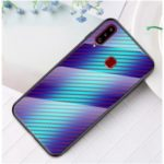 Carbon Fiber Texture Tempered Glass + PC + TPU Hybrid Phone Case Covering for Samsung Galaxy A20s – Blue Fiber