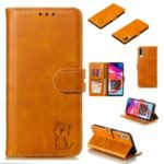 Imprinted Cat Pattern Leather Wallet Stand Case for Samsung Galaxy A90 5G – Brown
