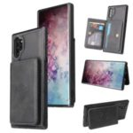 Card Holders PU Leather Coated PC TPU Hybrid Case [Built-in Magnetic Metal Sheet] for Samsung Galaxy Note 10 Plus/Note 10 Plus 5G – Black
