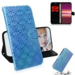 Pure Color Shiny Leather Wallet Stand Phone Case with Lanyard for Sony Xperia 5 – Blue