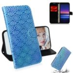Pure Color Shiny Leather Cover Wallet Stand Phone Case with Lanyard for Sony Xperia 20 – Blue