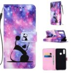 Pattern Printing PU Leather Wallet Protective Case for LG W30 – Sad Panda