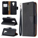 Litchi Skin Wallet Leather Stand Case for Huawei Mate 30 Lite / nova 5i Pro – Black
